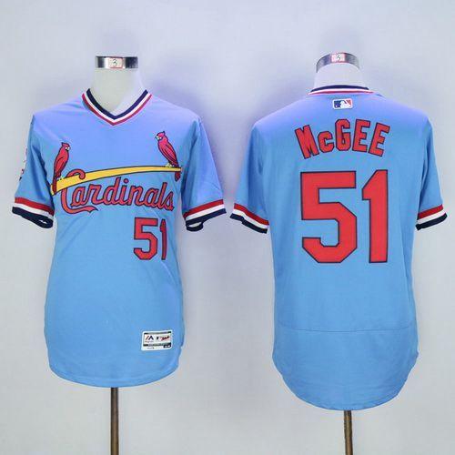 Men's St. Louis Cardinals #51 Willie McGee Retired Light Blue Pullover 2016 Flexbase Majestic Baseball Jersey