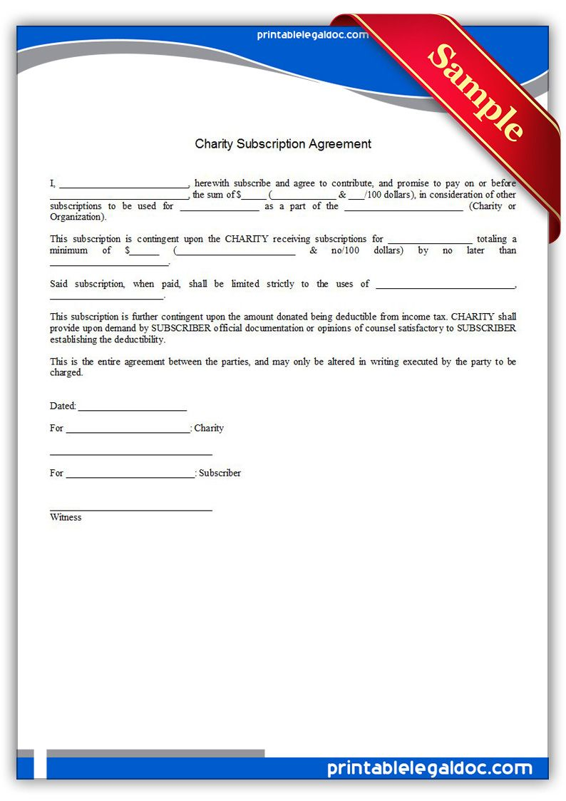 Free Printable Charity Subscription Agreement  Sample Printable