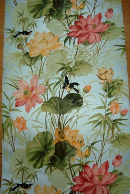 Groen Rood Bloemen En Vogels Op Vinyl Behang Abc Behang