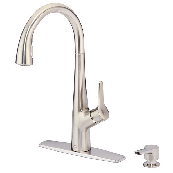 American Standard Kerris Pull Down Kitchen Faucet Stainless Steel 9129301 075 Rona Stainless Steel Steel Faucet