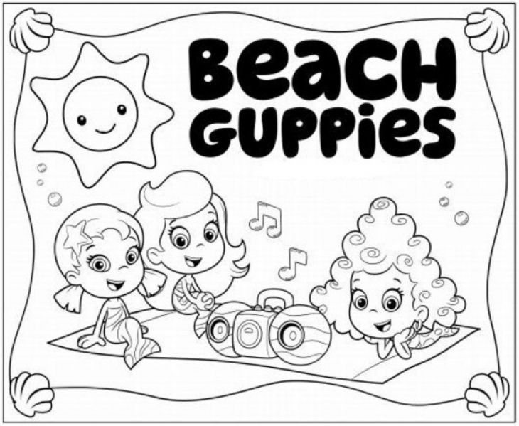 Bubble Guppies Molly Oona And Deema On Picnic Coloring Page