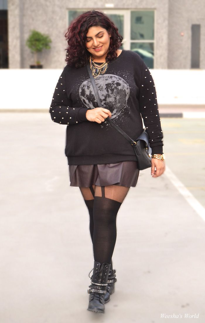 forever 21 plus spiked sweater, topshop faux leather skater skirt ...