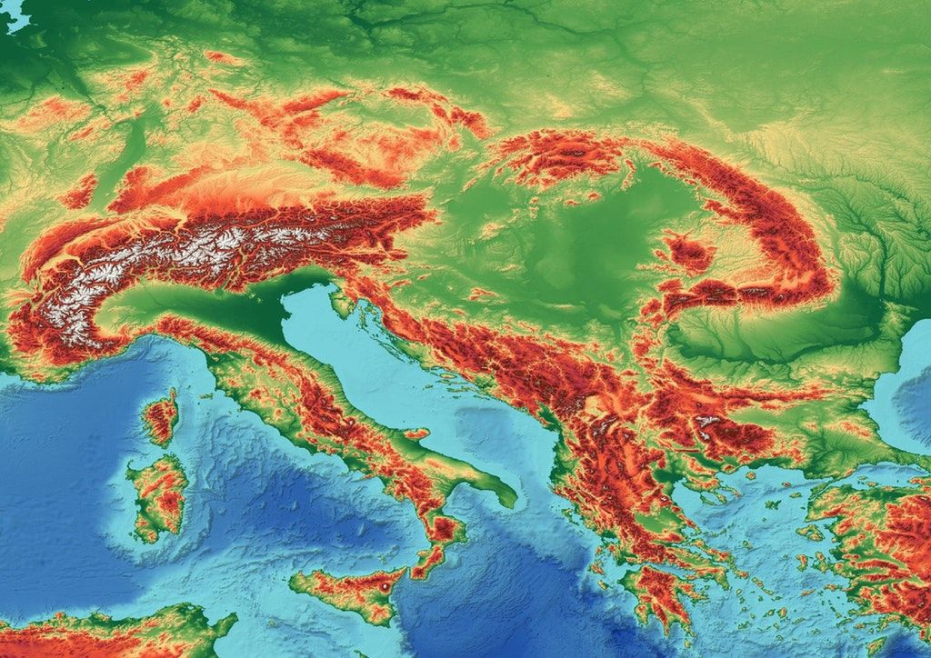 A Topographic Map Of Southeastern Europe Europe Pinterest