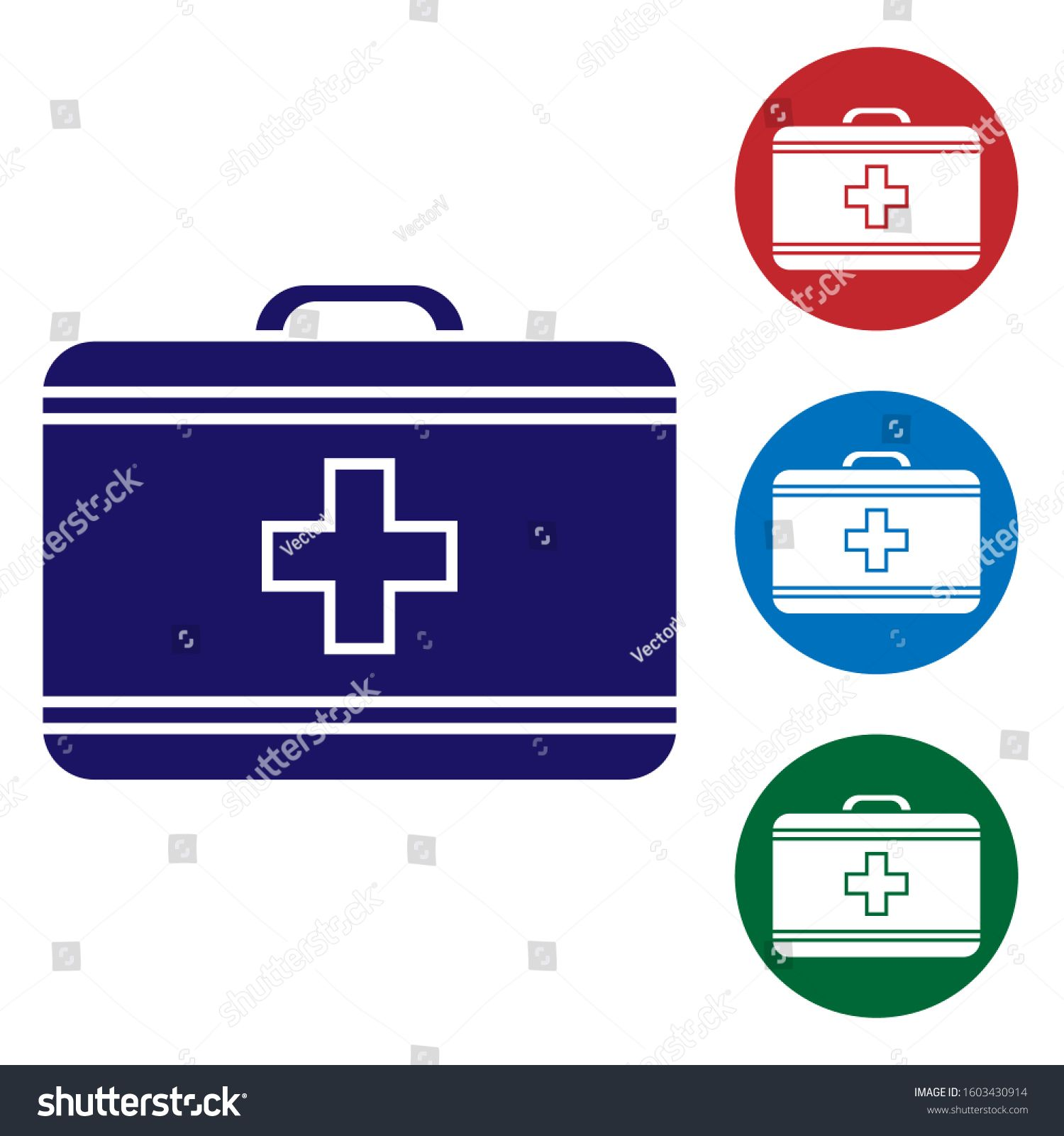 Blue First Aid Kit Icon Isolated On White Background Medical Box With Cross Medical Equipment For Emergency Healthcare Infographic Design First Aid Kit Icon