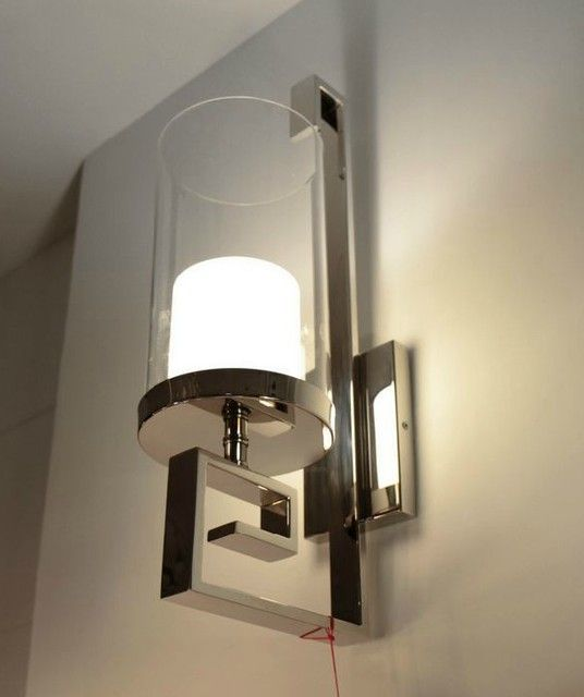 Modern Steel and Glass Wall Sconce in Polished Chrome Finish contemporary  wall sconces