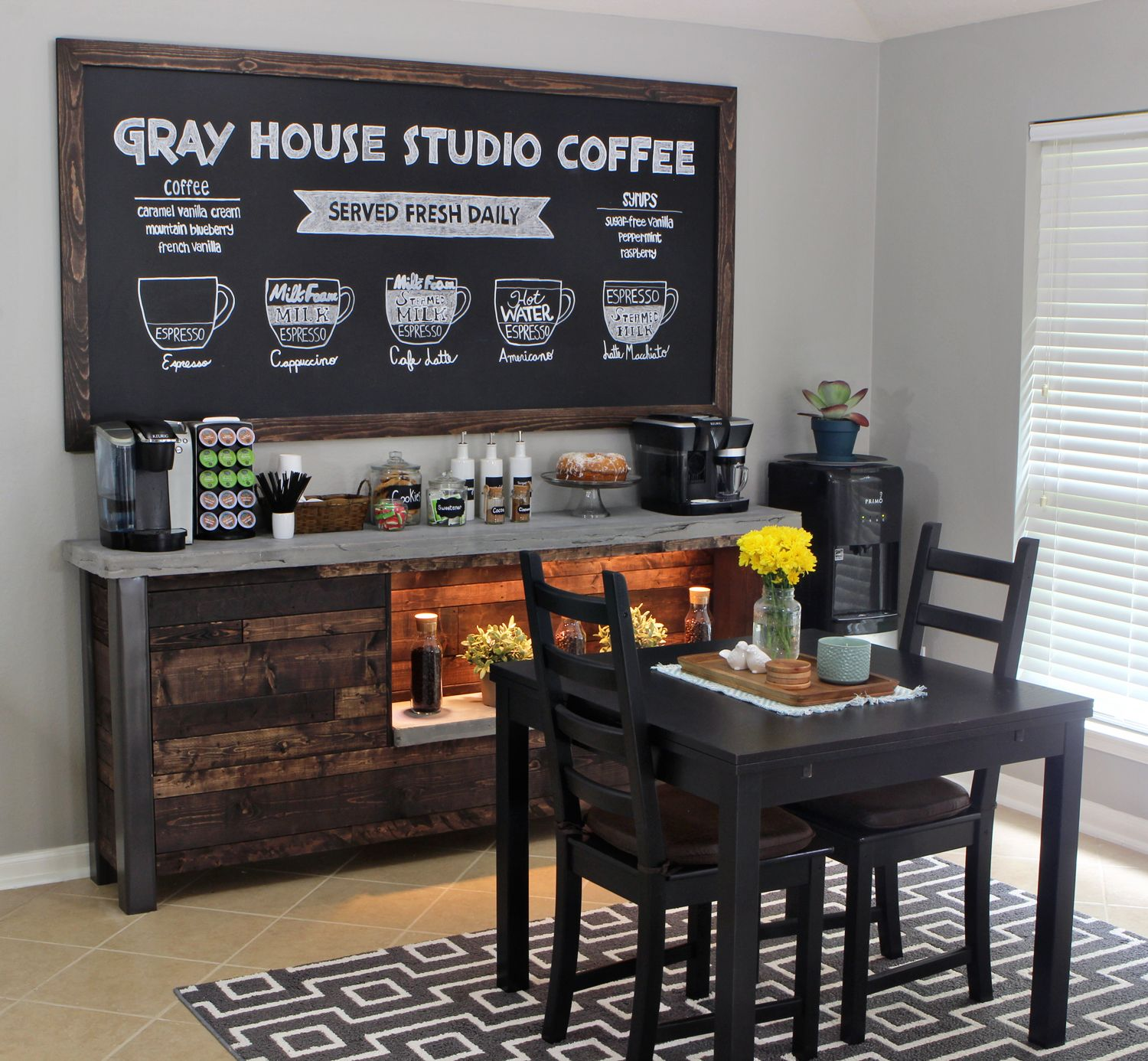 Coffee Shop Inspired Breakfast Nook With Coffee Bar