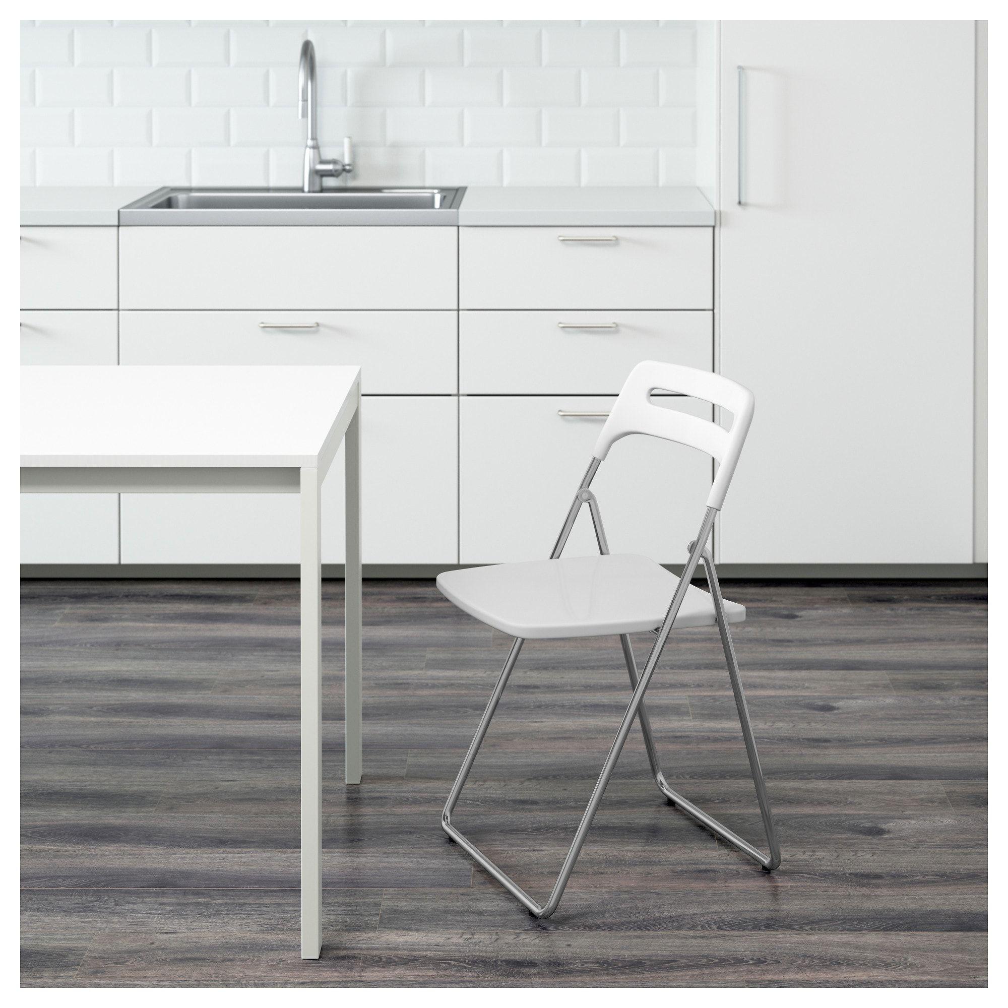 Nisse Folding Chair High Gloss White Chrome Plated