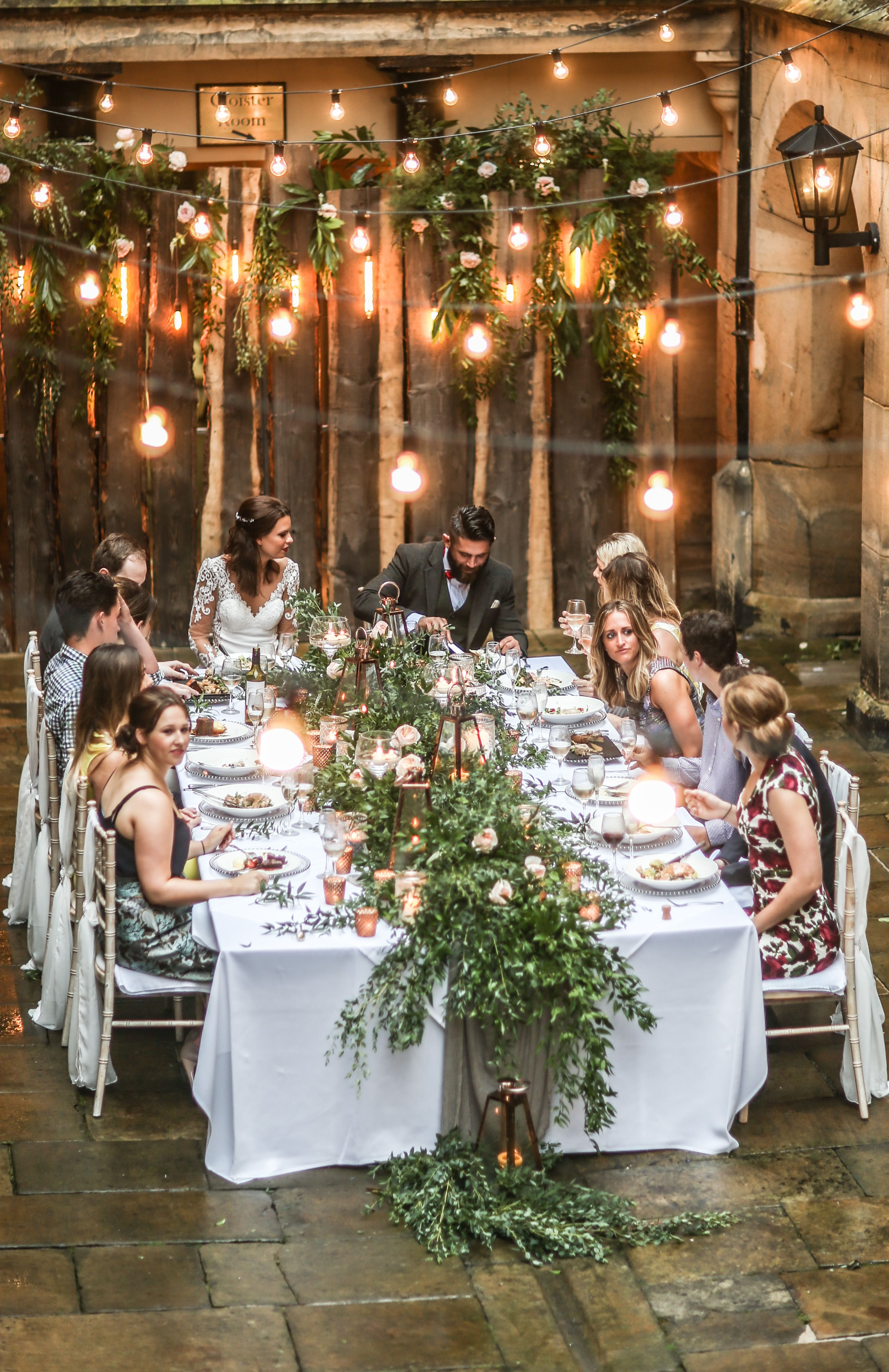 Alfresco Dining Italian Inspired Courtyard Wedding In The Heart Of Northumberland U Wedding Reception Seating Italian Wedding Themes Garden Wedding Reception
