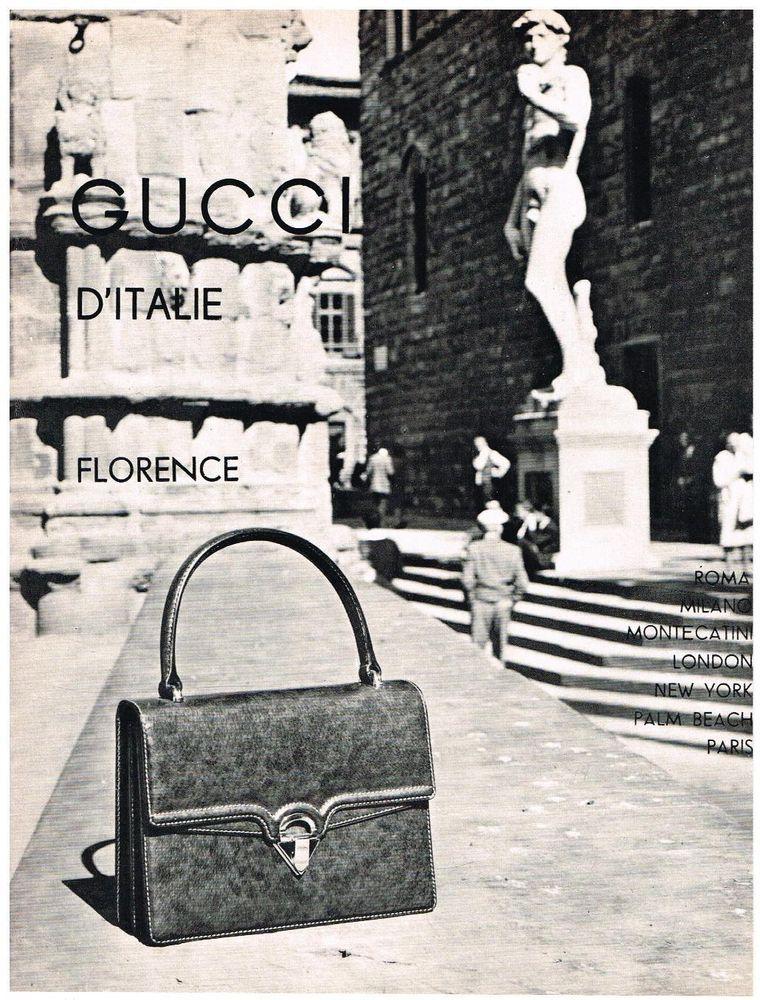 7f40735c86b0 Original GUCCI D ITALIE AD HANDBAG ART FLORENCE 1950 s Vintage Advertising