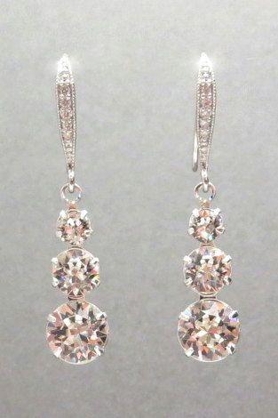 Bridal earrings Crystal Wedding earrings Swarovski by treasures570