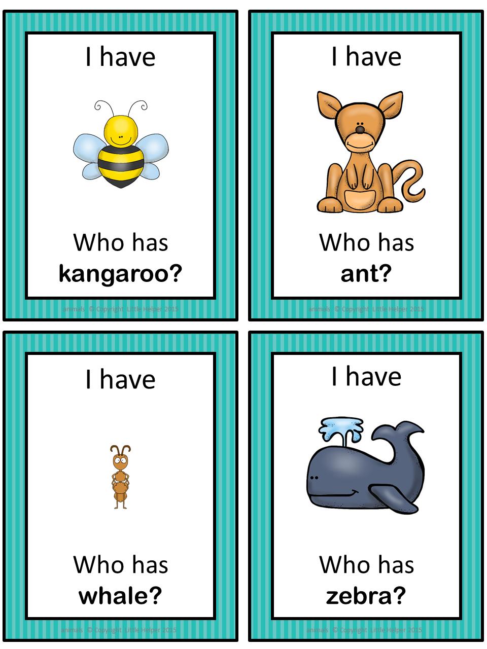 ESL animals I have ... Who has ...? game | English | Pinterest ...