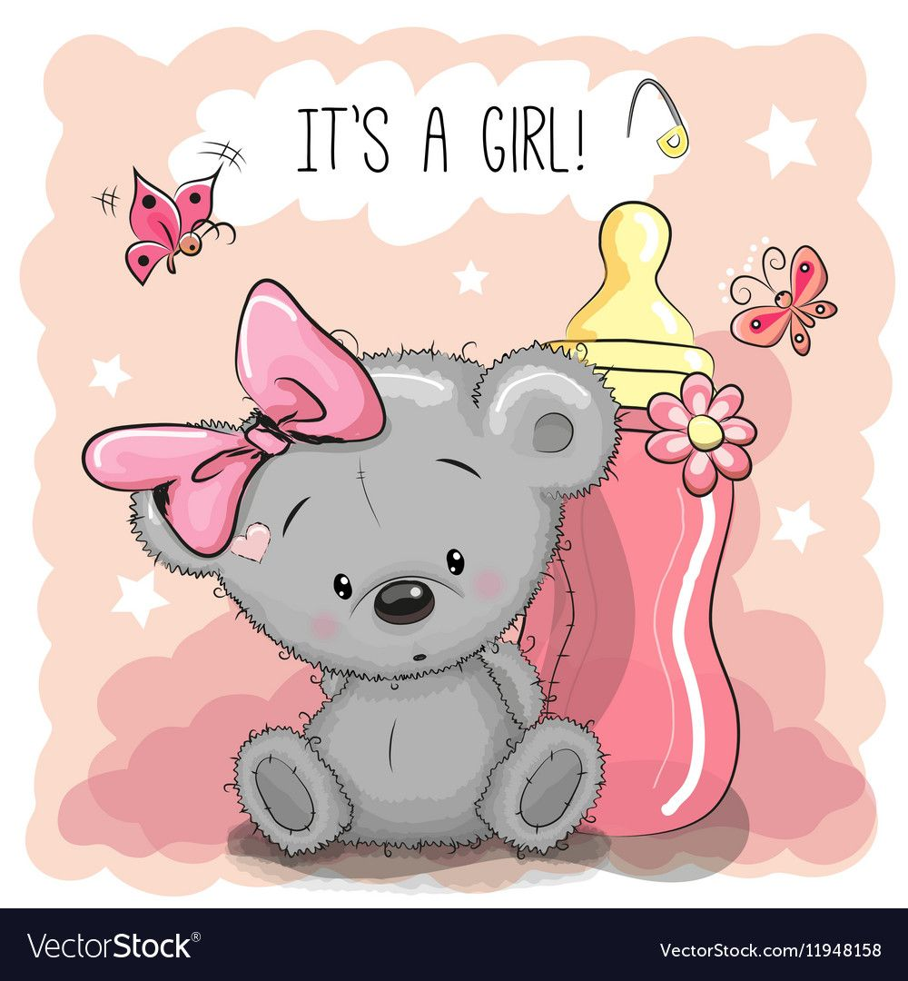 Cute Cartoon Teddy Bear Girl With Feeding Bottle Download A Free Preview Or High Quality Adobe Illustrator Ai Eps Teddy Bear Girl Bear Cartoon Baby Clip Art