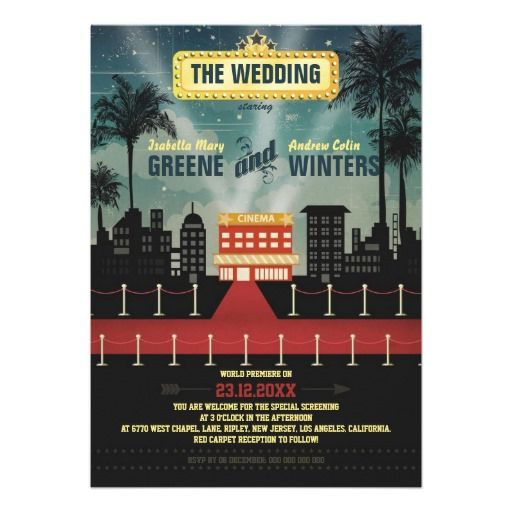Now Playing #Wedding #Invitation #red carpet #hollywood #movie - movie themed invitation template