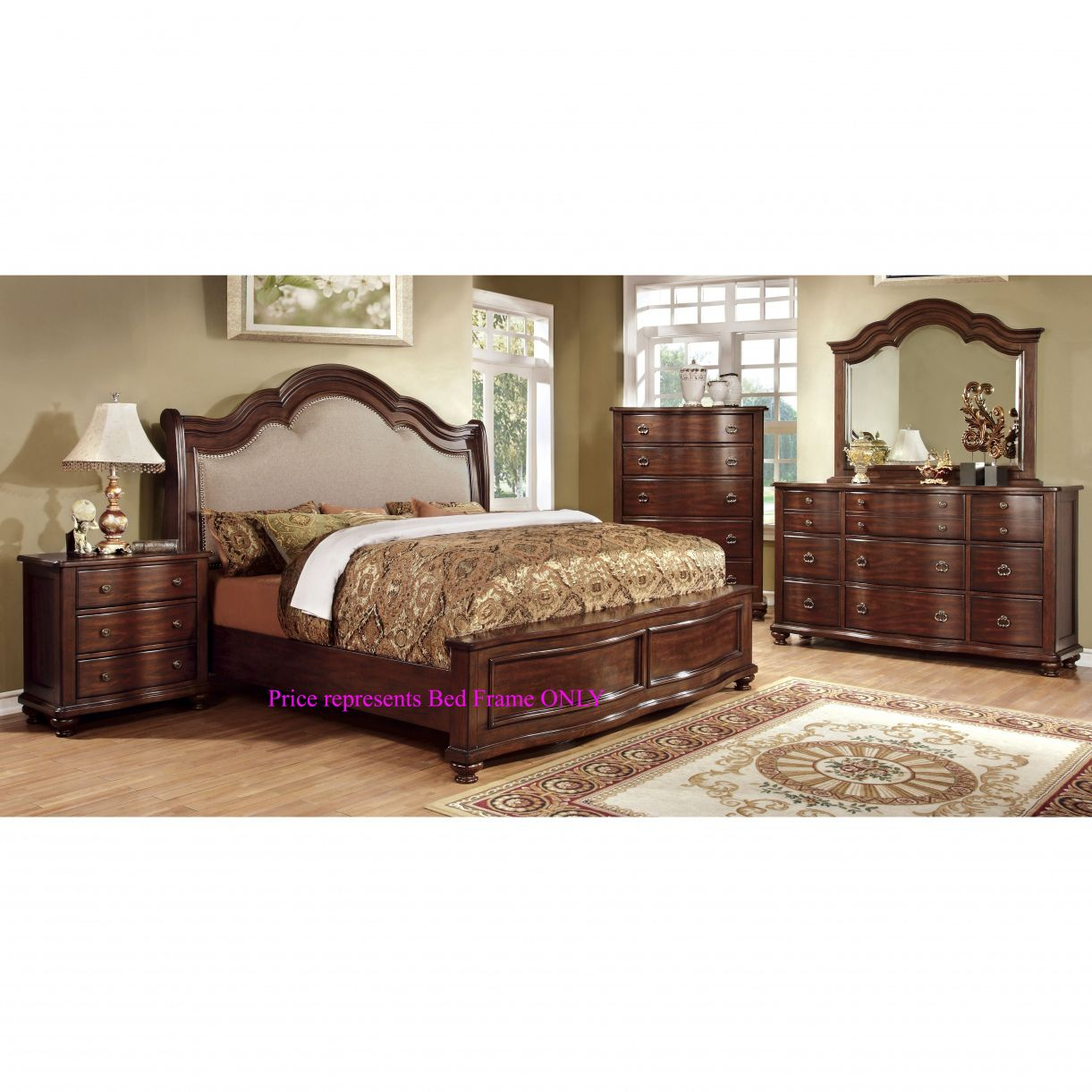 Designed to bring sophistication to any bedroom this bedroom set offers both style and comfort the arching headboard features an elegant molding frame