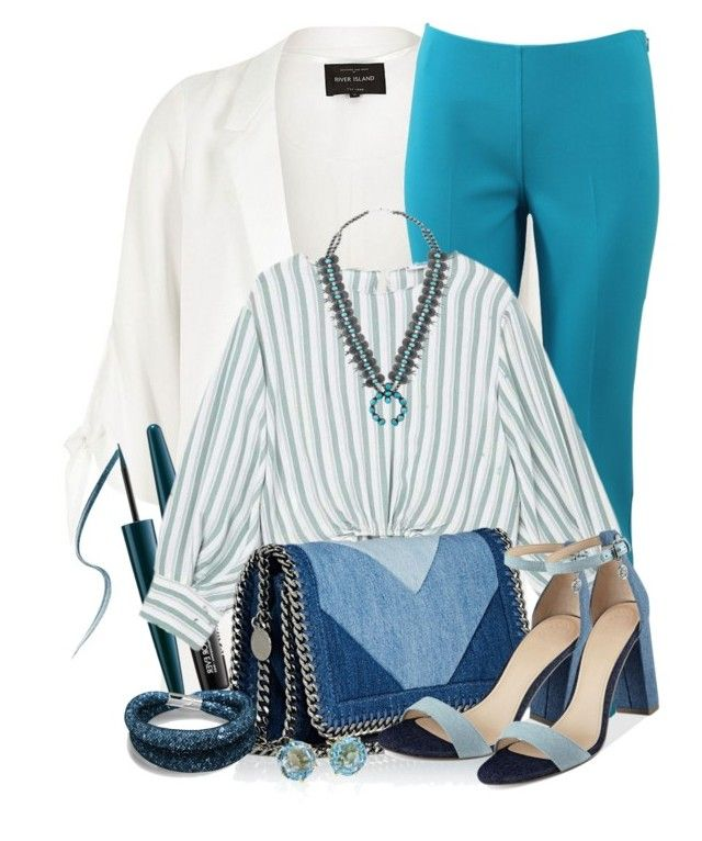 """""""Aqua #604"""" by joanaraquelgt ❤ liked on Polyvore featuring River Island, Michael Kors, MAKE UP FOR EVER, MANGO, STELLA McCARTNEY, GUESS and Ippolita"""