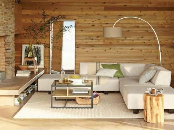 Moderne Wohnzimmer Landhausstil Mit Wänden Aus Holz Und Stein