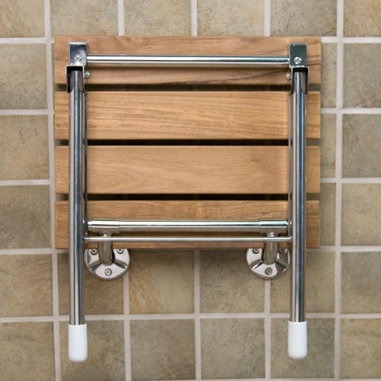 Teak Folding Shower Seat with Legs | Shower seat, Bathroom ...
