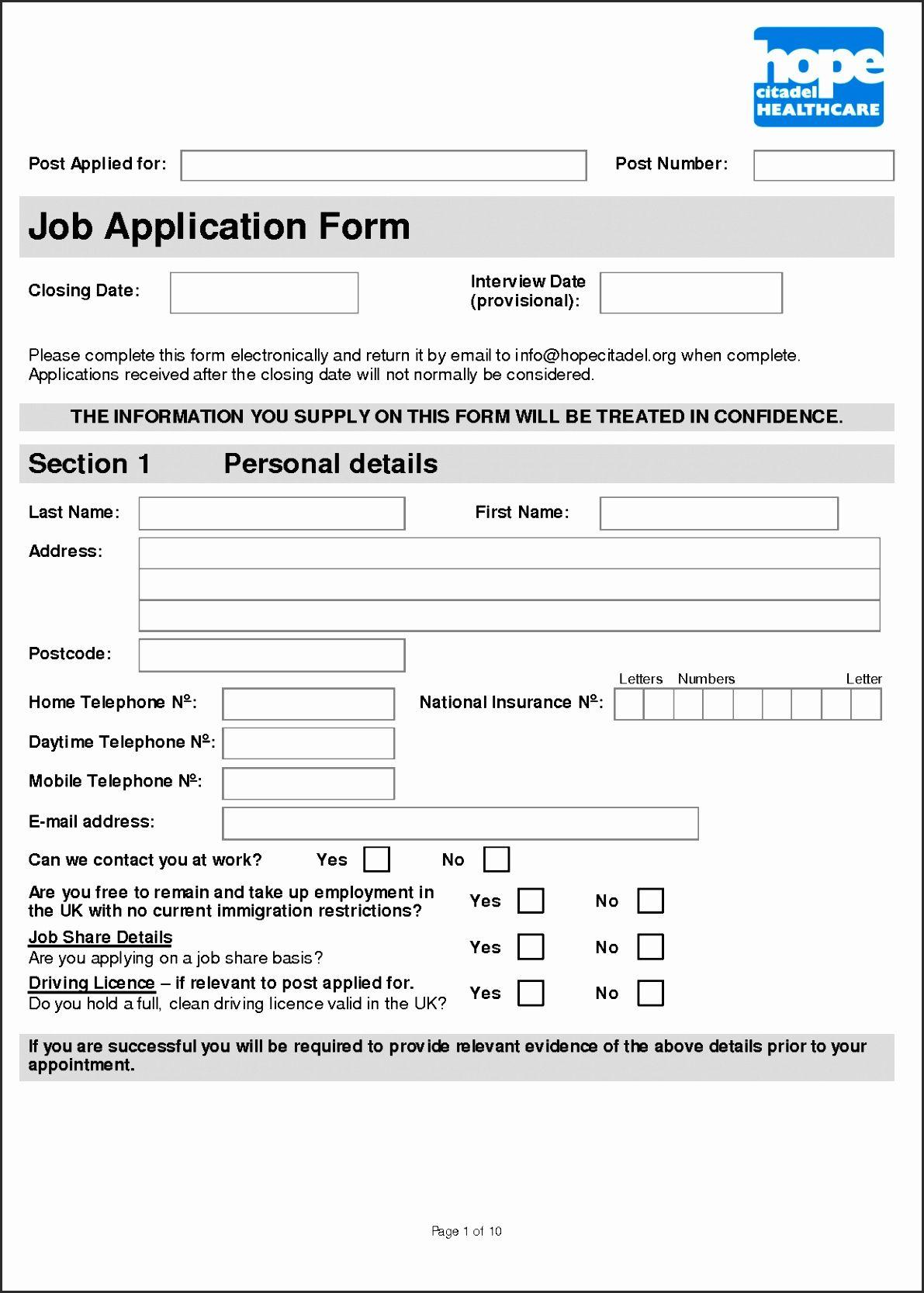 Application Form Template Bbkhs Unique 100 Employment Application Form Template Bio Job Application Form Job Application Application Form [ 1667 x 1191 Pixel ]