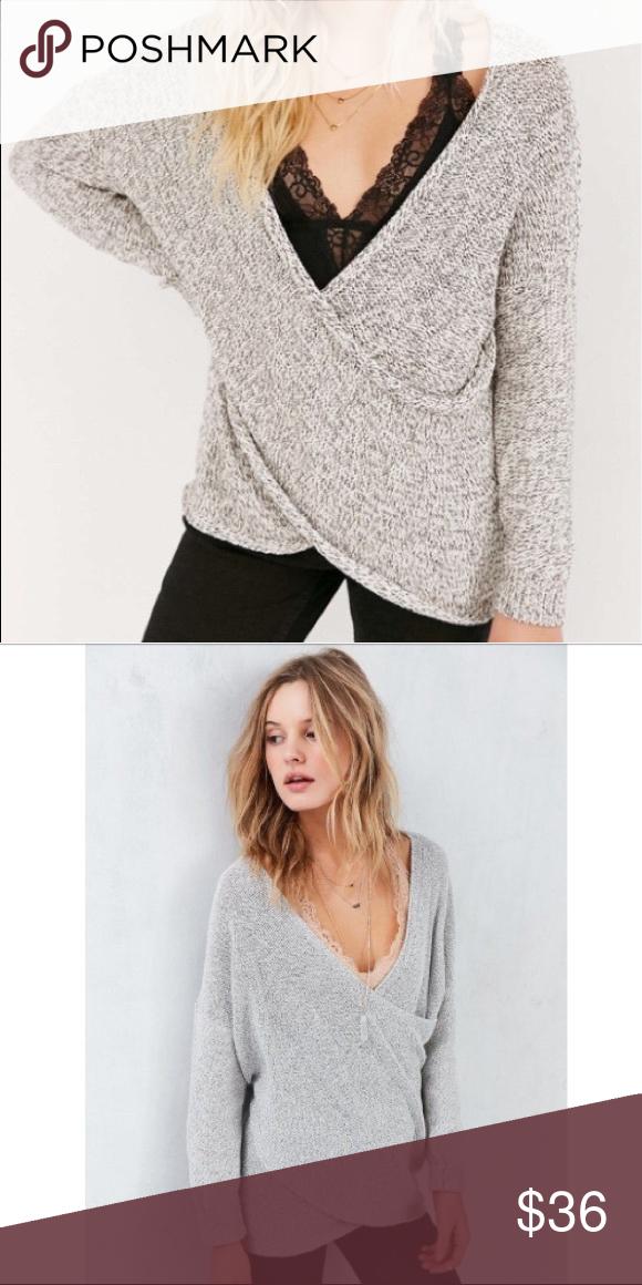 Kimchi Blue Sunny Surplice Wrap Sweater Gray   Wrap sweater