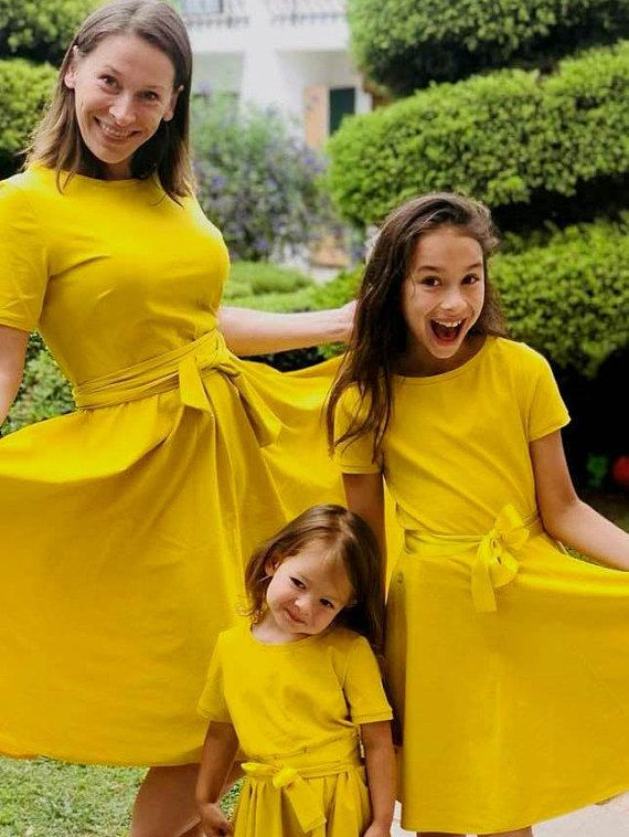 f652ad3246 Mom and me dress, Matching dress, Mommy and me outfit, Yellow mustard dress,  Circle skirt dress, Mot