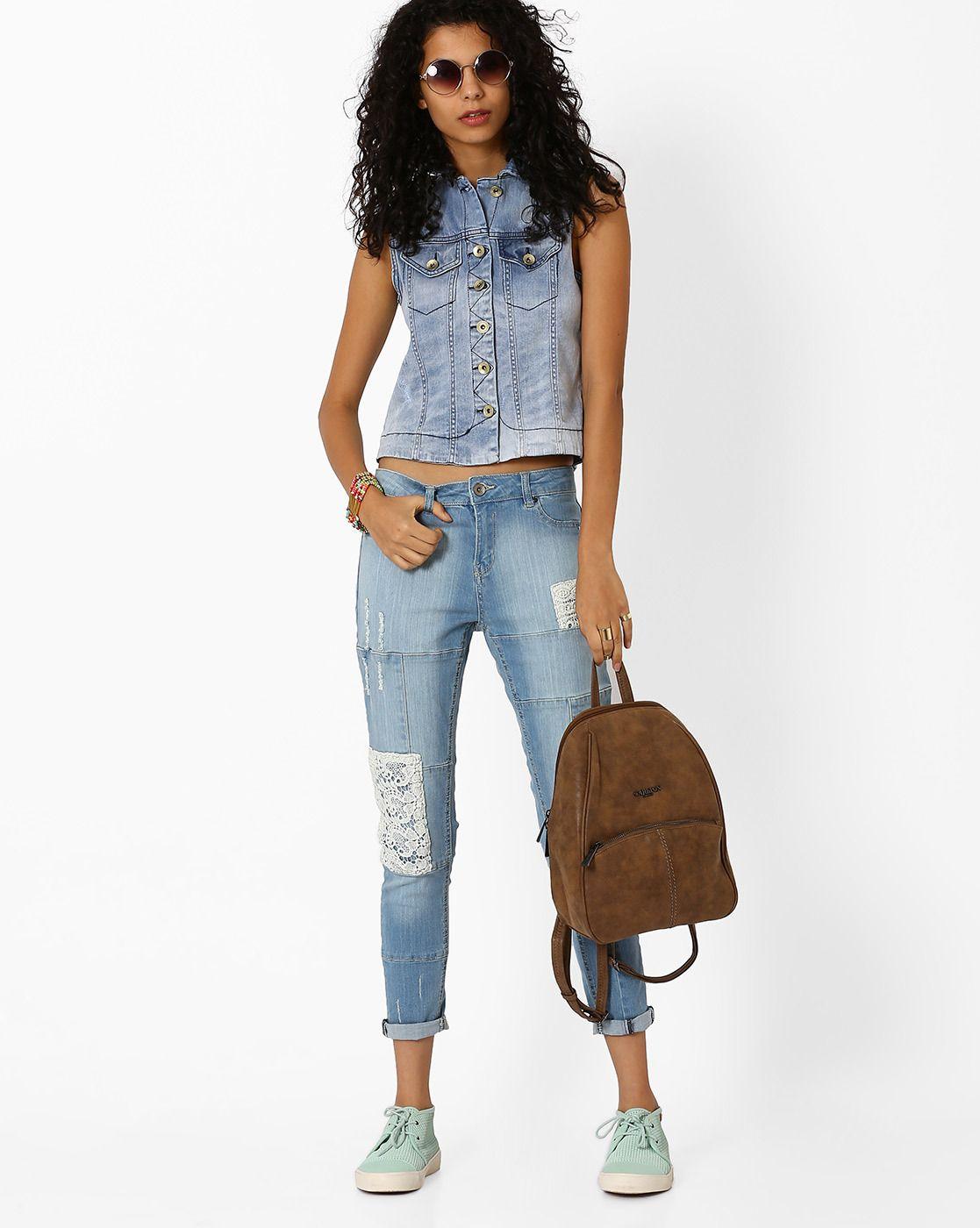 f14c56c55 Buy Light Blue AJIO Sleeveless Denim Jacket   AJIOLife Womenswear ...