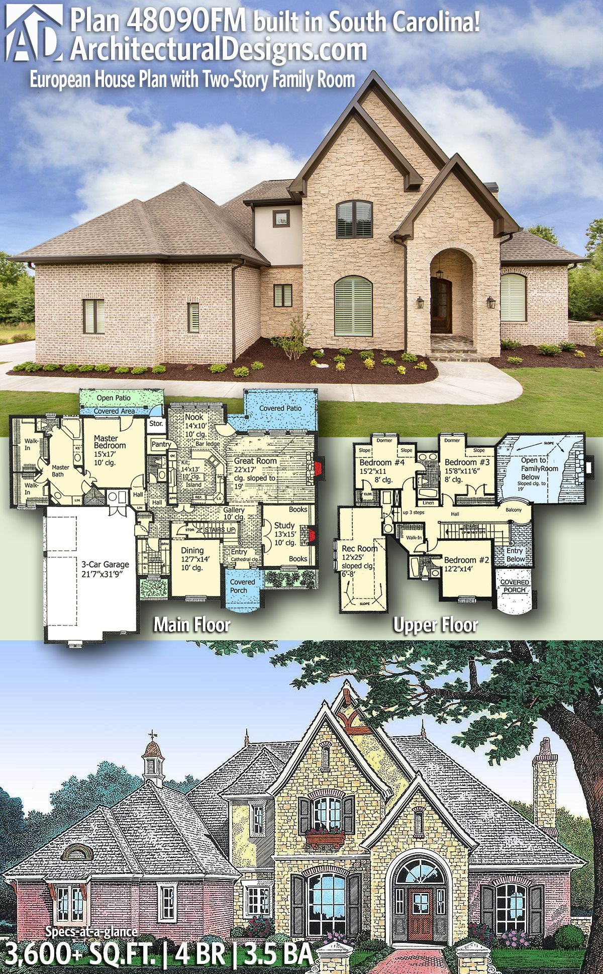 Plan 48090fm European House Plan With Two Story Family Room House Plans Dream House Plans European House Plans
