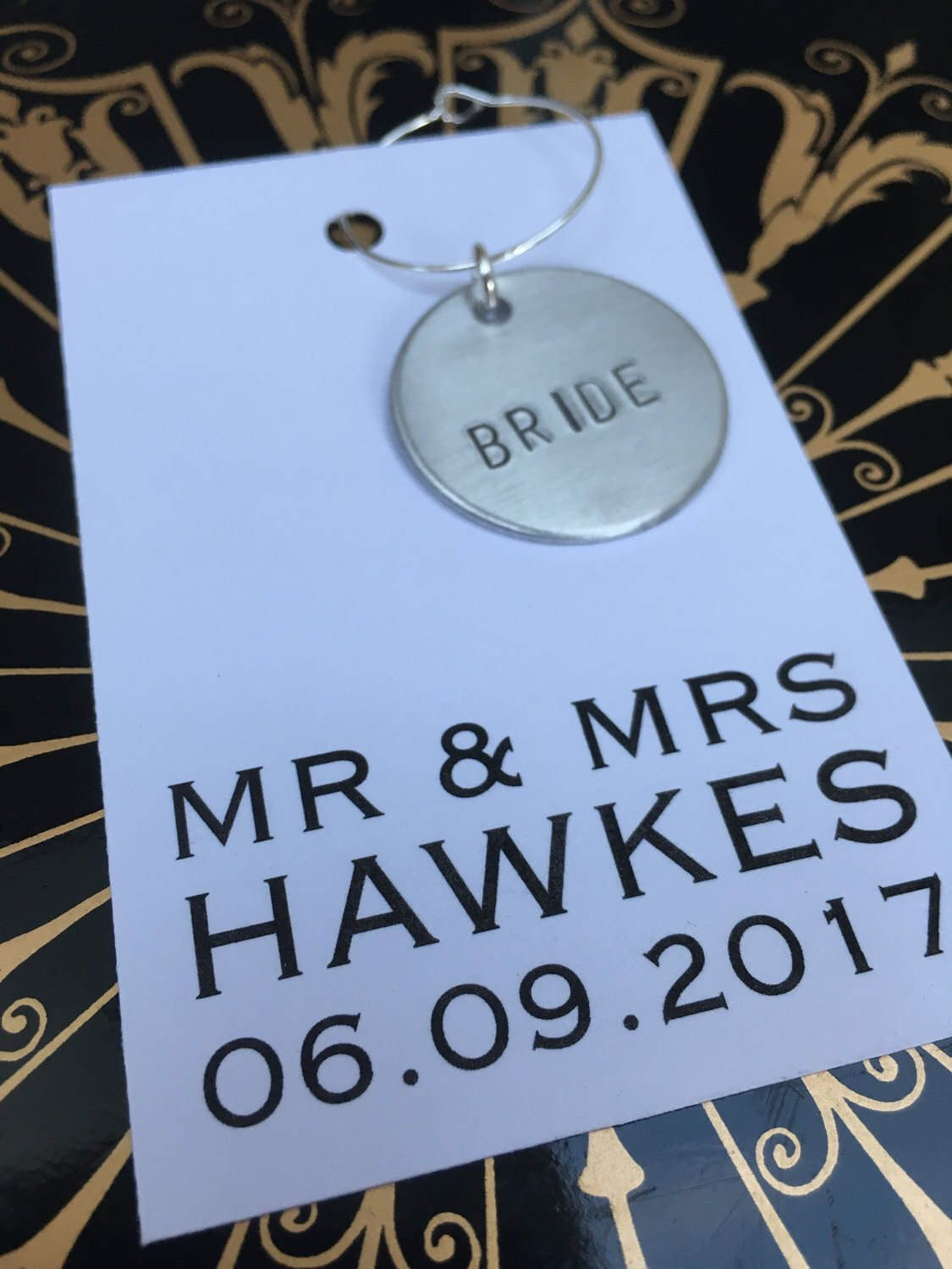 Personalised Wine Charm Wedding Favour Hand Stamped Wine Charm