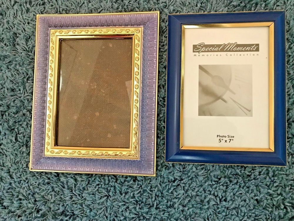 2 Blue And Gold Picture Frames 5x7 1 Free Standing 1 Wall Hang