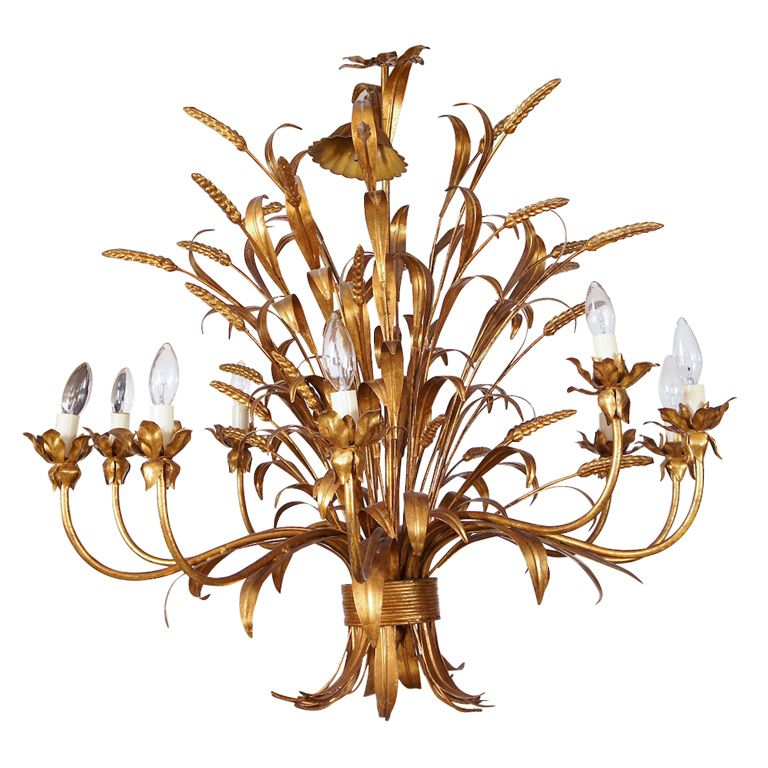 Sheaf Of Wheat 10 Light Chandelier Italy Mid 20th Century Gold Gilt 10 Light Sheath Of Wh Light Bulb Chandelier Chandelier Lighting Chandeliers And Pendants
