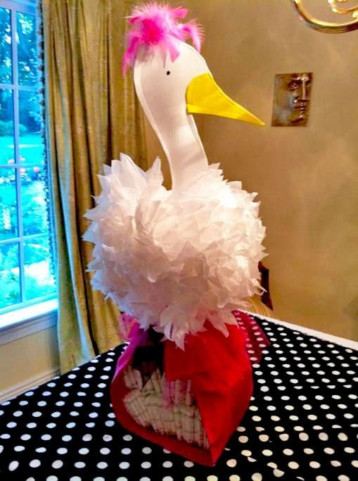 Diy stork baby shower centerpiece things i would like to for Baby shower decoration ideas to make