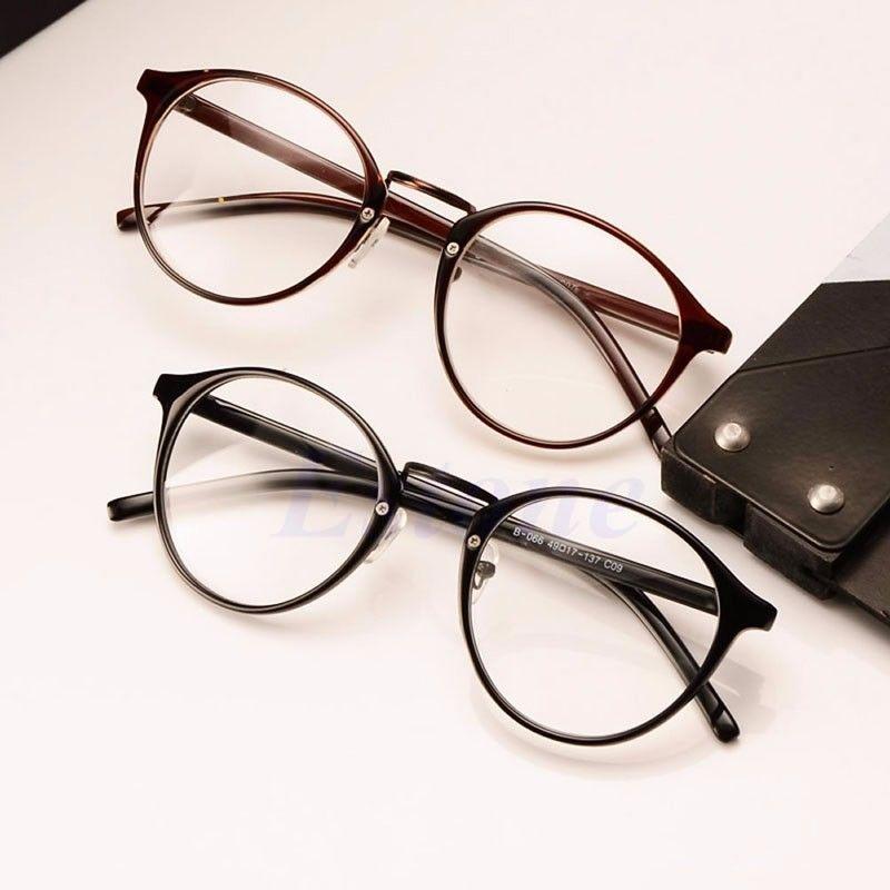68ef901360e52 Mulheres Homens Óculos Óculos de Armação Simples Espelho Redondo Óculos Da  Moda olho de Gato Óculos