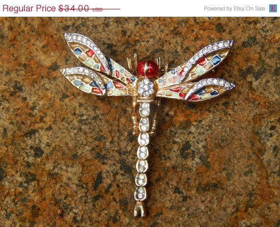 ON SALE Antique 1960's Dragonfly Brooch/ Scarf by SoSwankVintage