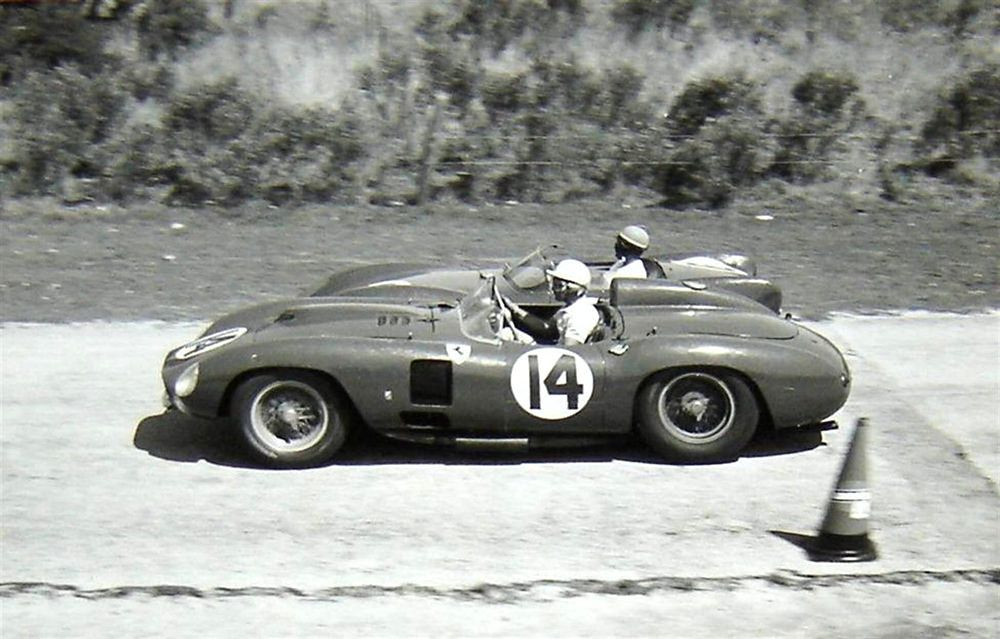 https://flic.kr/p/ouRjHF | Ferrari 290 MM at Sebring 1957. | Phil Hill and Wolfgang von Trips drove this Ferrari 290 MM at Sebring in 1957. The car failed to finish due to a bad battery. To me it looks like the Ferrari is passing a Lotus Eleven that might have been driven by Colin Chapman and Joe Sheppard. If I am incorrect please let me know. Please note how narrow the track is at this point and how close the cars are to each other.
