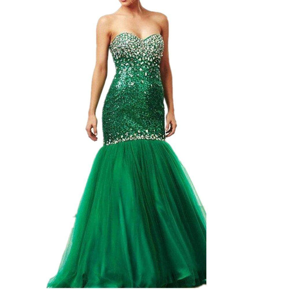 Drehouse womenus sweetheart sequins mermaid prom dresses beaded