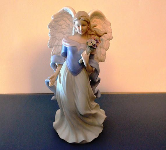 This Vintage Retired Home Interiors Porcelain Angel Figurine Is A Beautifully Detailed In Flowing Light Blue And Ivory Gown Holding Bouquet Of