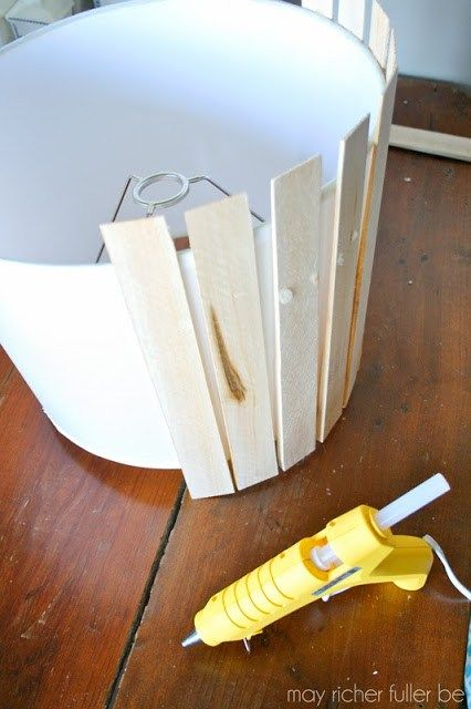 Hot Glue Wood Shims To Drum Shade To Make Pendant Lamp