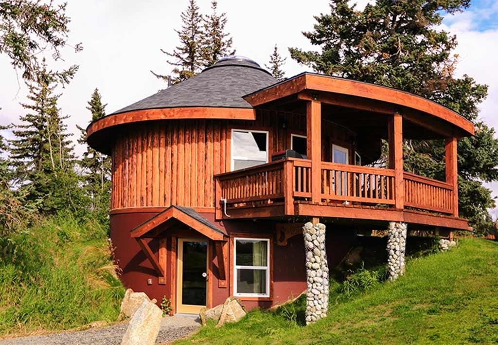 Log yurt lodging the puffin kenai peninsula suites for 2 story cabin kits