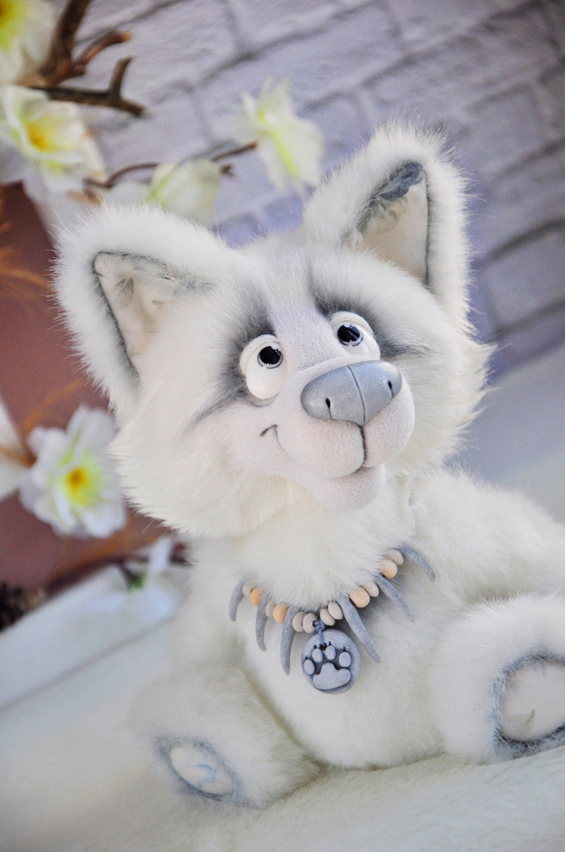 White plush puppy Wolf stuffed cute sweet toy poseable