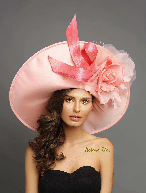 408bff77 Peach/Coral Kentucky derby hat, Coral derby hat, Couture derby hat ...