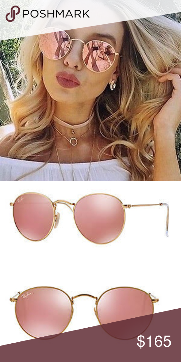7b0c2a3da Ray-Ban - Pink Mirror Lenses Round RB 3447 112/Z2 100% authentic Ray-Bans -  like NEW!!! Comes with sunglasses case and lens cleaner. Ray-Ban  Accessories ...