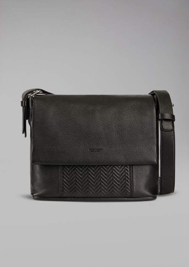 2fc8655fc1ff Giorgio Armani Leather Messenger Bag