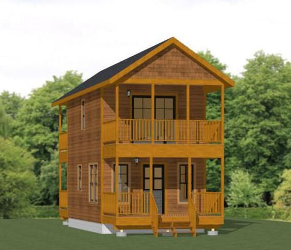 14x24 House 1 Bedroom 1 5 Bath 597 Sq Ft Pdf Floor Etsy House Small House Design Tiny House Plans