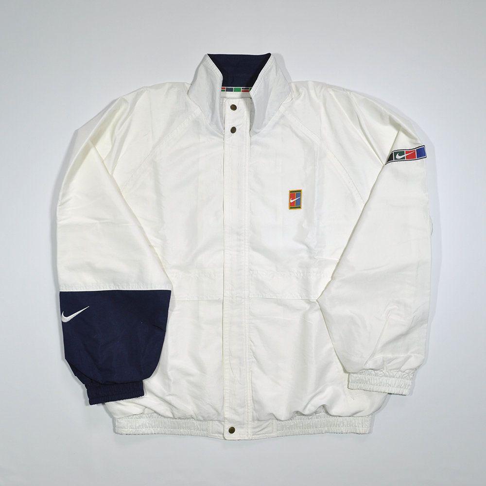 Vintage 90s Vintage Nike Challenge Court Andre Agassi Windbreaker Jacket Nike Tennis Challenge Court White Large Size Retro Sportswear Vintage Nike Jackets