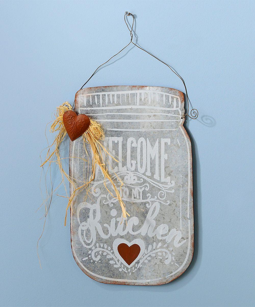 Metal Jar \'Welcome Kitchen\' Wall Sign | Jar, Metals and Kitchens