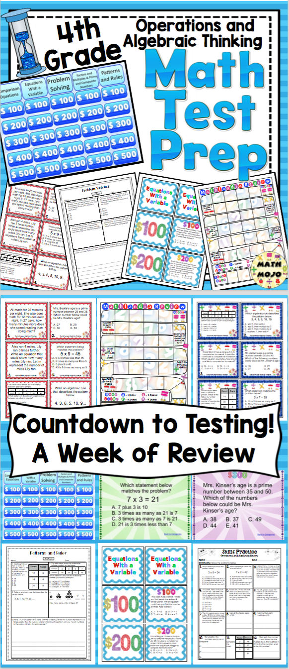 4th Grade Math Test Prep: Countdown! Operations and Algebraic ...