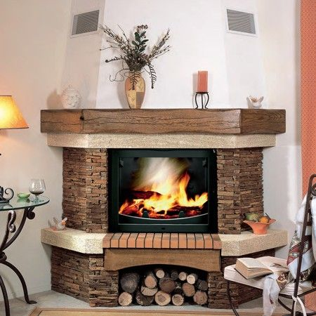 chemin e d 39 angle living chemin e rustique poele a. Black Bedroom Furniture Sets. Home Design Ideas