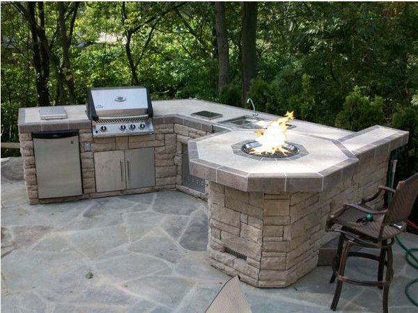 Large Kitchen Island With Fire Pit Outdoor Stone Grill Island Outdoor Decor