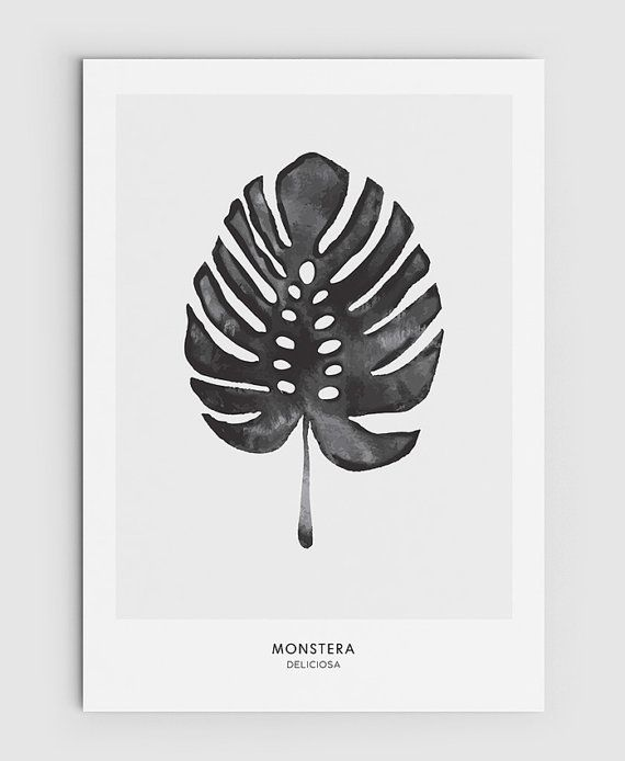 Watercolor Green Plants Monstera Nature Posters And Prints: Monstera, Cheese Plant Leaf
