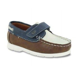 Zapatos niños naúticos velcro cuero y marino Mayoral