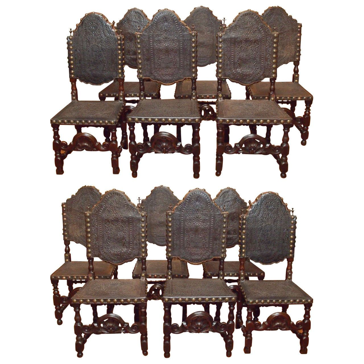 Antique Gothic Style Oak And Leather
